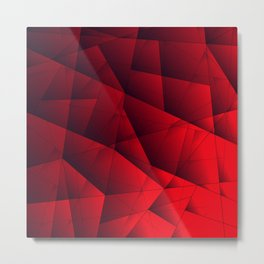 Bright contrasting red fragments of crystals on triangles of irregular shape. Metal Print