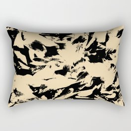 Beige Yellow Black Abstract Military Camouflage Rectangular Pillow