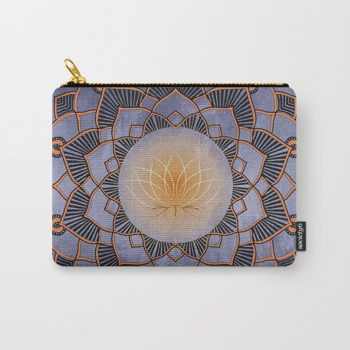 Orange Lotus Flower Mandala On A Textured Blue Background Carry-All Pouch