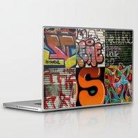 grafitti Laptop & iPad Skins featuring grafitti collage by laika in cosmos