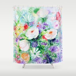 "Watercolor Painting ""Good Mood Flowers Shower Curtain"
