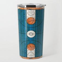 Blue Basketball Court with Basketballs Travel Mug