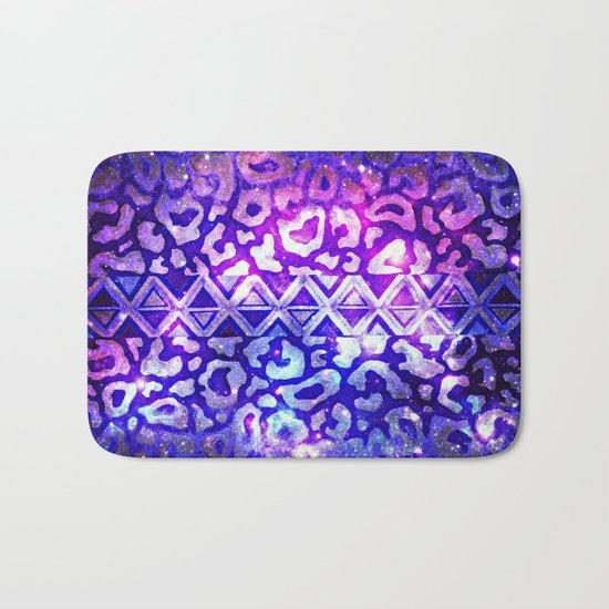 TRIBAL LEOPARD GALAXY Animal Print Aztec Native Pattern Geometric Purple Blue Ombre Space Galactic Bath Mat