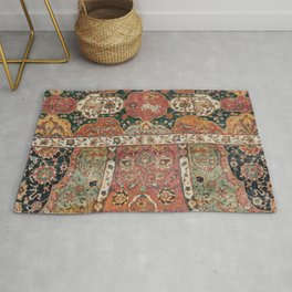 Persian Medallion Rug V // 16th Century Distressed Red Green Blue Flowery Colorful Ornate Pattern Rug