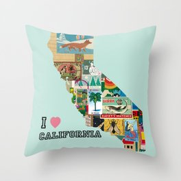 I love California Collage -  vintage Paper Throw Pillow