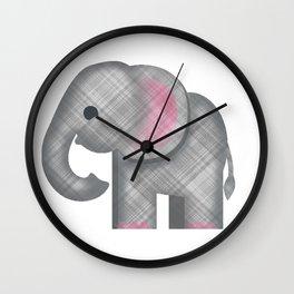 Plaid Elephant Emoji Wall Clock