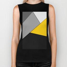 Simple Modern Gray Yellow and Black Geometric Biker Tank