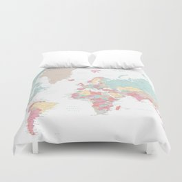 Pastel world map with cities Duvet Cover