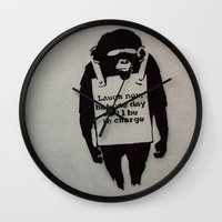 banksy Wall Clocks featuring Banksy  by Ashley Griswold Photography