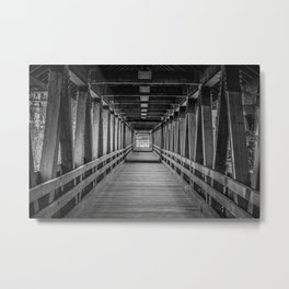 Interior Riverwalk Covered Bride Littleton New Hampshire Ammonoosuc River Metal Print