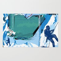 climbing Area & Throw Rugs featuring Ice Climbing by Robin Curtiss