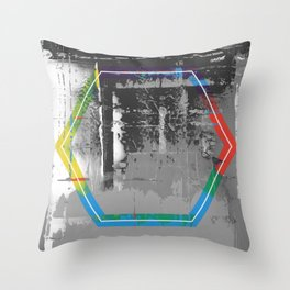 Color Chrome - B/W graphic hex Throw Pillow