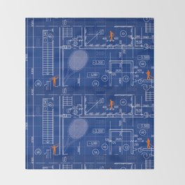 Blue Blueprint with Construction Workers & Tennis Racquet Throw Blanket