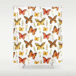Butterfly Totem White Background Shower Curtain