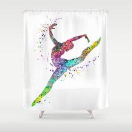 Girl Gymnastics Watercolor Shower Curtain