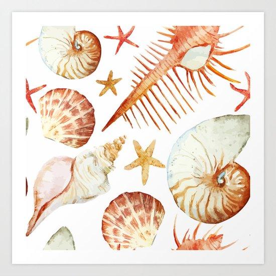 Sea Life Pattern 09 Art Print