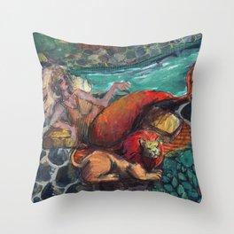 zodiac mermaid: leo Throw Pillow
