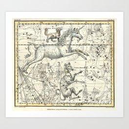 Monoceros, Canis Major, Minor Constellations Celestial Atlas Plate 26, Alexander Jamieson Art Print