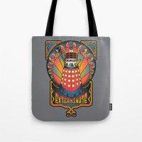 dalek Tote Bags featuring Dalek Nouveau by Mareve Design