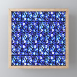 Crypto currency blue pattern Framed Mini Art Print