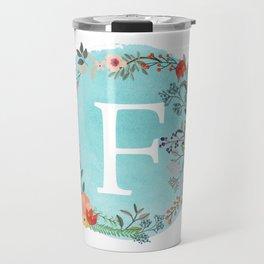 Personalized Monogram Initial Letter F Blue Watercolor Flower Wreath Artwork Travel Mug