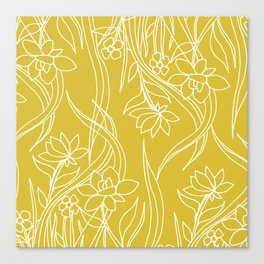 Floral Drawing in Yellow Canvas Print