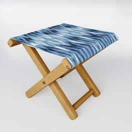 Blue Satin Shibori Argyle Folding Stool