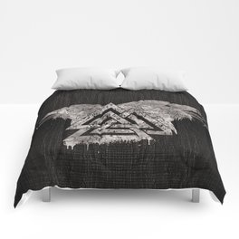 Valknut Symbol and Raven Comforters