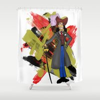 captain hook Shower Curtains featuring Disneyland Captain Hook - Evil Relations by Joey Noble