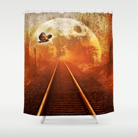 Railway to the moon Shower Curtain