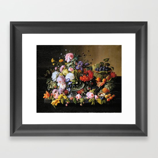 Vintage Varnish- Flowers&Fruit Framed Art Print