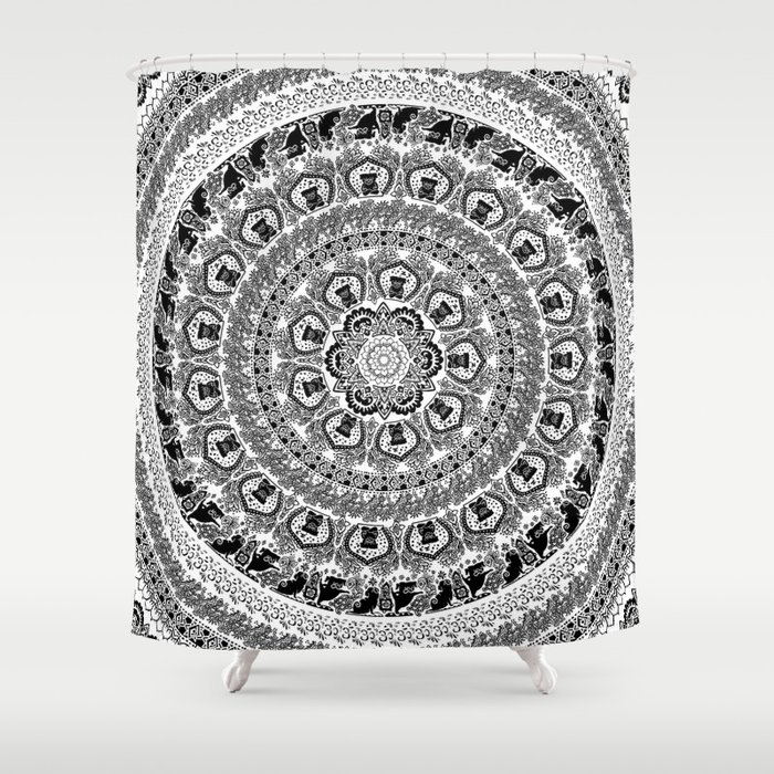 Black Pug Yoga Medallion Shower Curtain By Huebucket