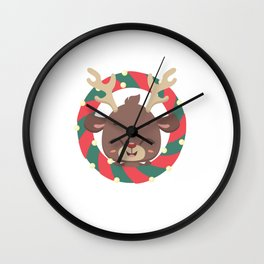 Cute reindeer and goodies in christmas stocking Wall Clock