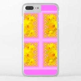Fuchsia Quatre Panel Daffodil Pattern Clear iPhone Case