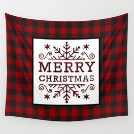 Plaid Merry Christmas Wall Tapestry