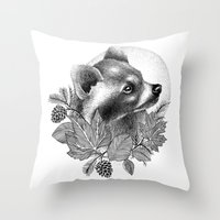 raccoon Throw Pillows featuring RACCOON by Thiago Bianchini