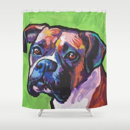 Fun BOXER Dog bright colorful Pop Art Painting by Lea Shower Curtain