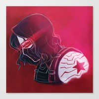 winter soldier Canvas Prints featuring Winter Soldier  by Charleighkat