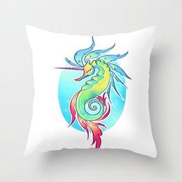 Sea Unicorn Throw Pillow