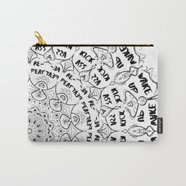 Mandala - Wake Up, Kick A**, Repeat.... Black and White Carry-All Pouch