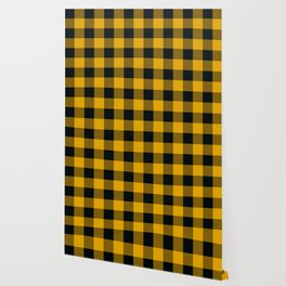 Yellow & Black Buffalo Plaid Wallpaper
