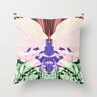 hitchcock Throw Pillows featuring Hitchcock by kikkerART