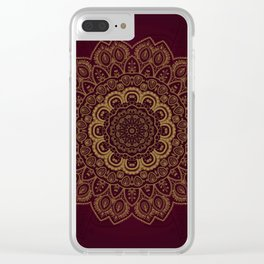 Gold Mandala on Royal Red Background Clear iPhone Case