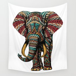 Ornate Elephant (Color Version) Wall Tapestry