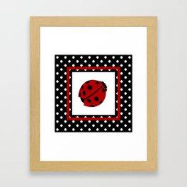 Ladybug And Polkadots Framed Art Print