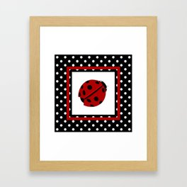 Ladybug And Polkadots Framed Art Print