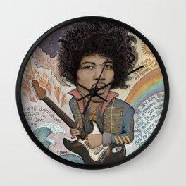 Jimi Hendrix - 11 Moons Played Across The Rainbows Wall Clock