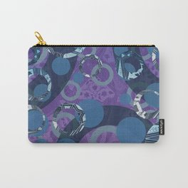 mosaic abstract blue rings violet pattern Designs Carry-All Pouch