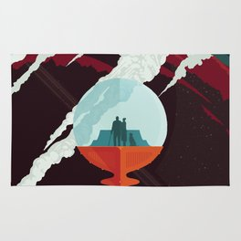NASA Retro Space Travel Poster #3 - Enceladus Rug