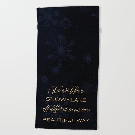 We are like a snowflake - gold glitter Typography on dark background Beach Towel